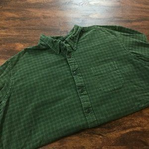 EDDIE BAUER Classic Fit Green Check Casual Button